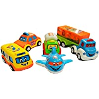Cartup Unbreakable Automobile Car Toy Set , Pull Back Car Truck Toy Set for Kids - 5 Toys (Fun Auto)