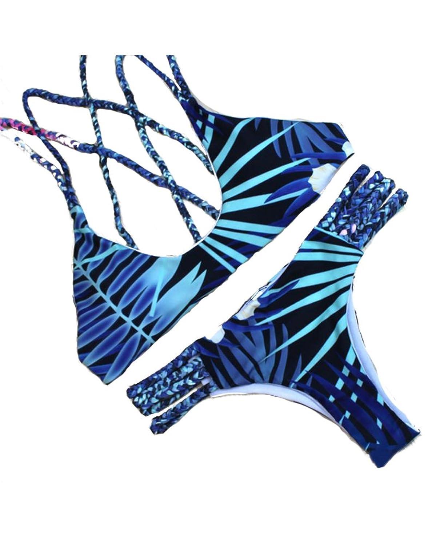 piepiebuyレディースセクシーバックレス編組ロープSennit Weavingロープビキニ水着Bathing Suit Two Piece B072P19G9Q