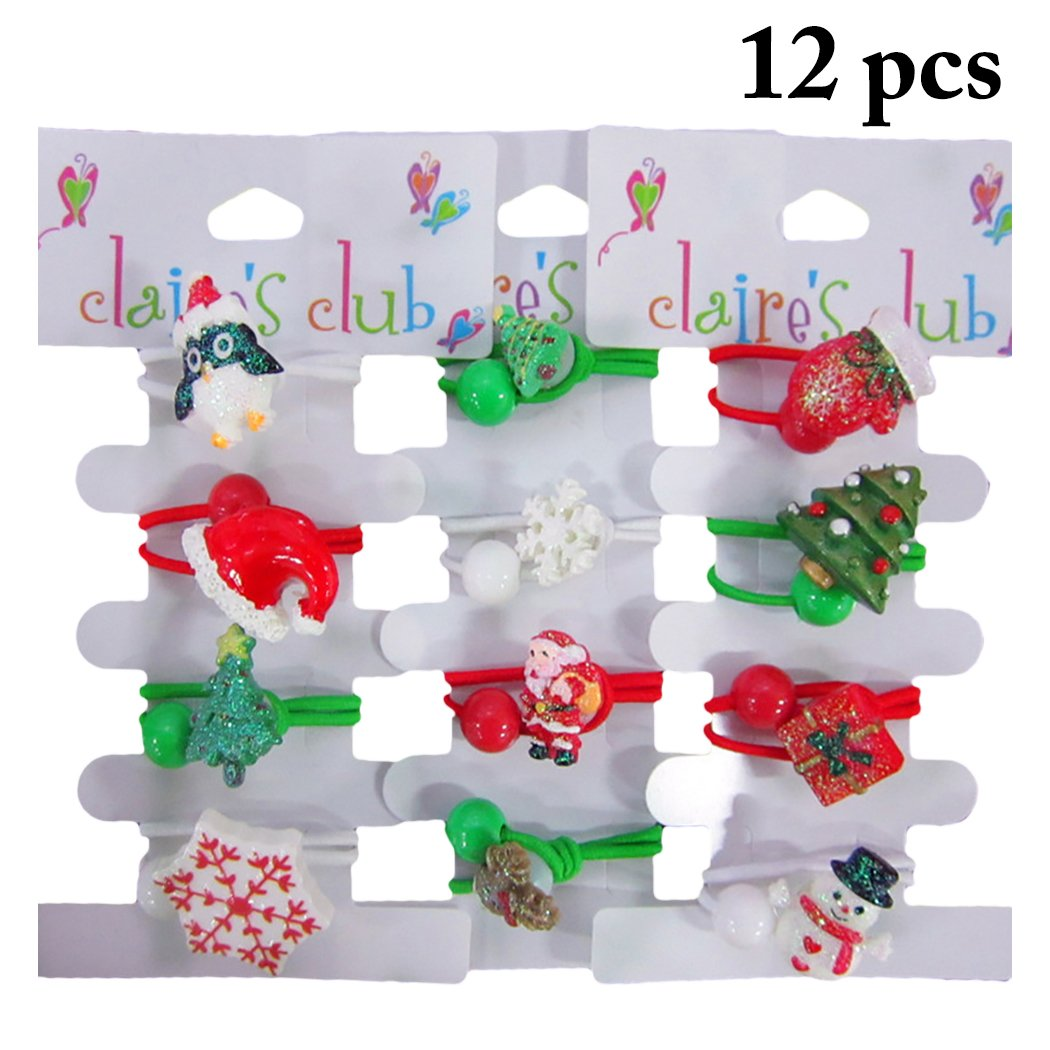 Zoylink 12PCS Cravatta Di Natale Cartoon Hair Rope Ponytail Holder Per Bambina