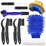 Oumers Bicycle Clean Brush Kit, 10pcs Motorcycle Bike Chain Cleaning Tools Make Chain/Crank/Tire/Sprocket Cycling Corner Stain Dirt Clean, Durable/Practical fit All Bike For Sale