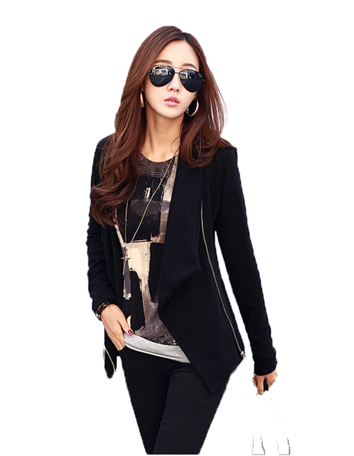 Womens Casual Stitching Color Side Zipper Jacket Coat Slim Fit Suit Cardigan