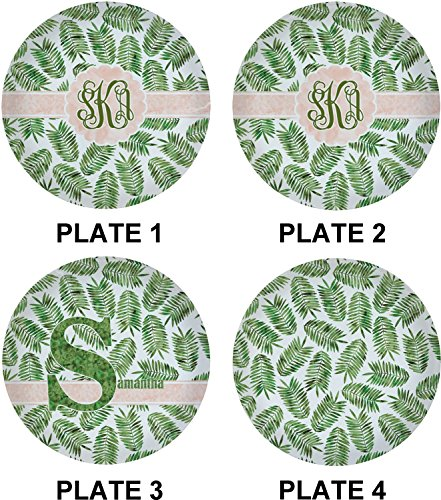 Tropical Leaves Set of 4 Lunch / Dinner Plates (Glass) (Personalized) by RNK Shops (Image #1)