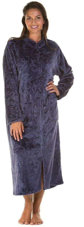 Ladies Luxury Soft Feel Embossed Zip Front Long Dressing Gown Robe