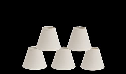 Urbanest Mini Chandelier Lamp Shades 6-inch, Cotton, Hardback, Clip On, Eggshell Set of 5