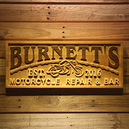 Wpa0361 Name Personalized Motorcycle Repair   Bar Man Cave Garage Gifts Wood Engraved Wooden Sign