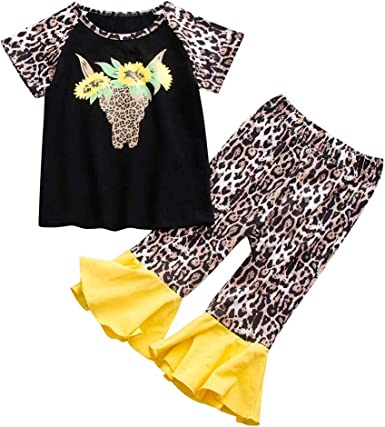 Voberry Toddler Baby Kids Girls Long Sleeve Cartoon Floral Print Tops Blouse Toddler Kids Tops T-Shirt Outfit Clothes