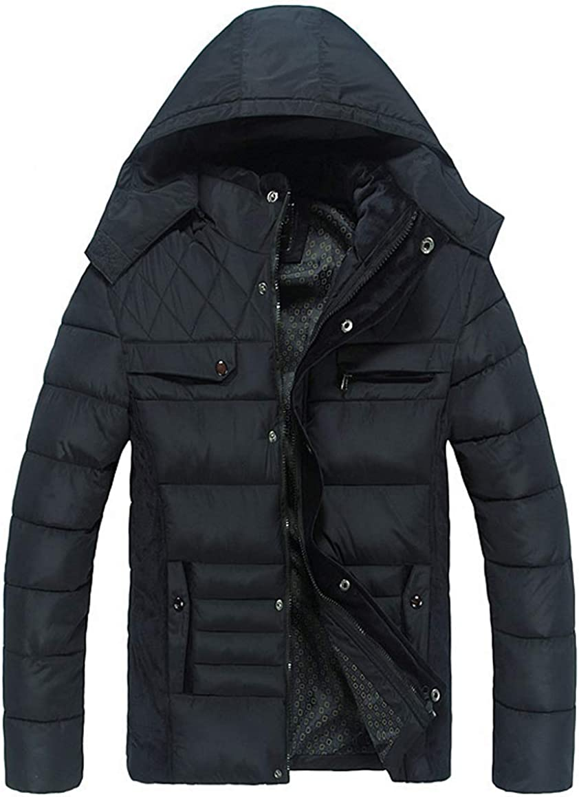 Klorim Mens Winter Thickened Warm Cotton-Padded Outwear Coats Black
