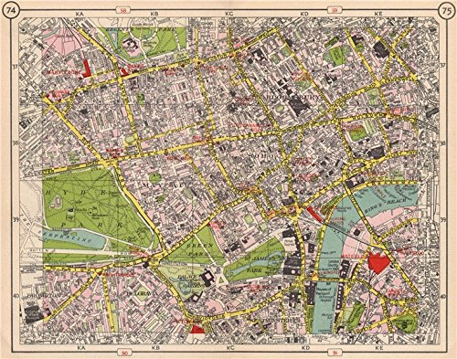 LONDON WEST END Mayfair West End Soho Bloomsbury Belgravia Westminster - 1953 - old map - antique map - vintage map - London map - London Map Mayfair