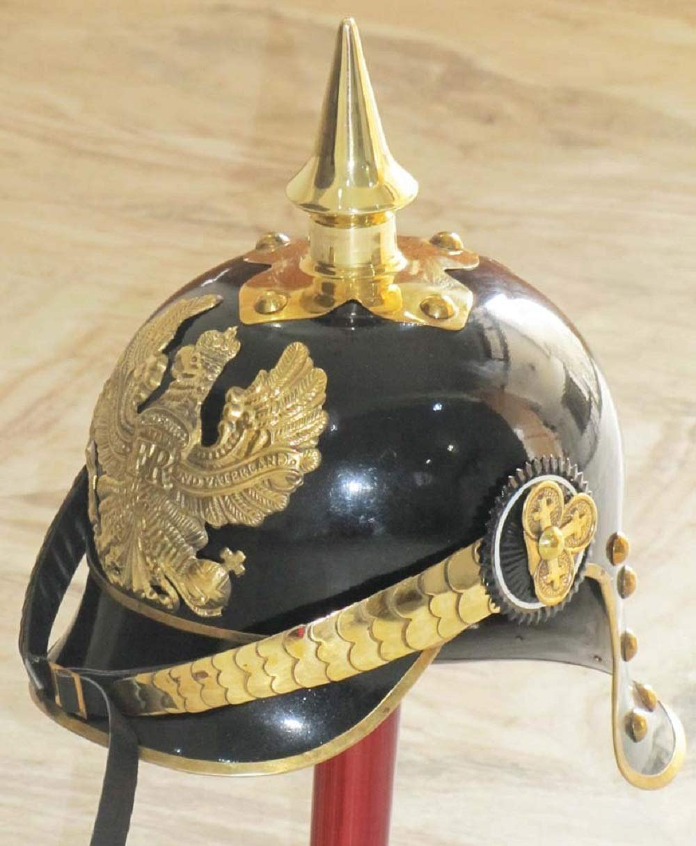 HANDMADE VINTAGE ART WW I&II GERMAN PRUSSIAN PICKELHAUBE HELMET BRASS ACCENTS IMPERIAL OFFICER SPIKE HELMET