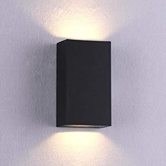 Lámpara de pared impermeable al aire libre led luz de escalera luces de pasillo lámpara de pared simple balcón creativo iluminación de jardín Negro_Luz cálida: Amazon.es: Iluminación
