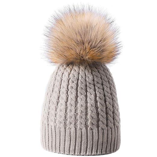 8e5a7182aaa1a Yetagoo Womens Winter Fur Pom Pom Hat Crochet Knit Beanie Cap Bobble Hat  (Beige) at Amazon Women's Clothing store: