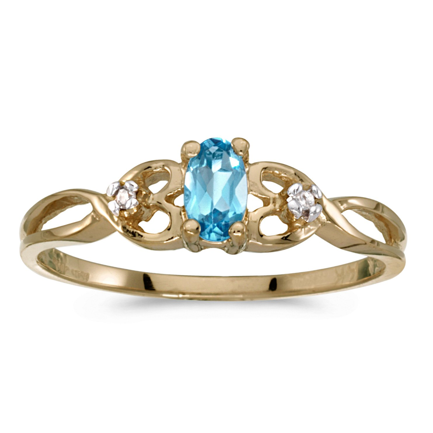 0.19 Carat (ctw) 10k Yellow Gold Oval Blue-Topaz and Diamond Infinity Twisting Heart Shaped Promise Fashion Ring (5 x 3 MM) - Size 6