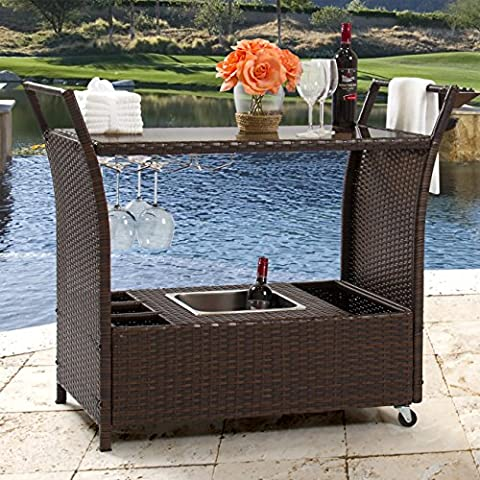 Best Choice Products Rolling Wicker Outdoor Bar Cart w/Ice Bucket, Glass Countertop, Glass Holders, Storage - Brown