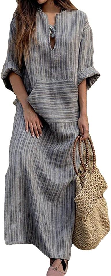 Été Confortable Rayures Robe Longue Plus Size Tunique Lâche