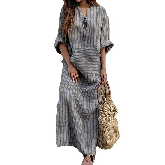 8df0f6d49be9 Donna Vestito Lungo Scollo a V e Maniche Lunghe Vestito Cotone Lino Lunga  Casual Striscia Abito S - XL  Amazon.it  Abbigliamento