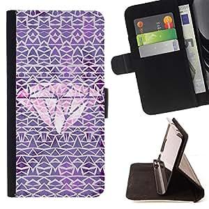 - diamond purple pink carat pattern - - Prima caja de la PU billetera de cuero con ranuras para tarjetas, efectivo desmontable correa para l Funny HouseFOR Samsung Galaxy S4 IV I9500
