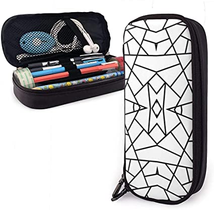 Geométrico abstracto Negro sobre blanco Estuche de lápices de cuero de PU lindo 20X9X4cm Bolsa de lápiz con cremallera doble para oficina escolar Niñas Niños Adultos: Amazon.es: Oficina y papelería