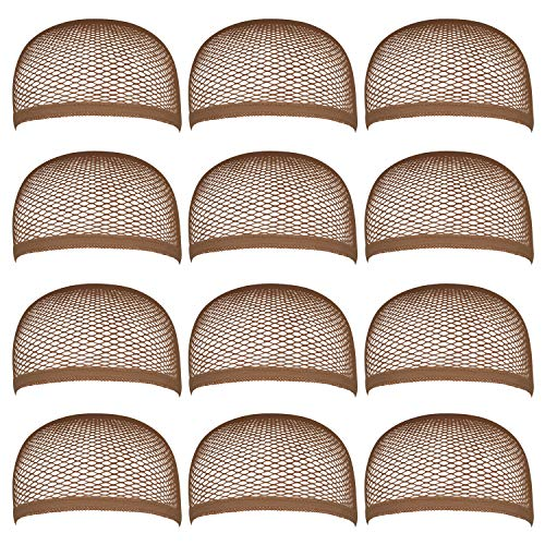 Blisstime Pack of 12 Wig Cap Open End Brown Mesh Net Liner Weaving Cap