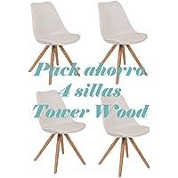 Oui Home - Conjunto 4 Sillas Tower Wood