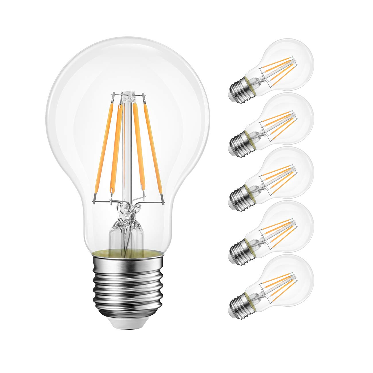 LVWIT A19 LED Filament Bulb 4W, 40W Equivalent 470 Lumens Non-Dimmable Vintage Bulb, Warm White 2700K, E26 Medium Screw Base, UL-Listed, Pack of 6