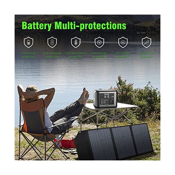 61OEGuzU6OS Enginstar Tragbare Powerstation 296Wh Solar Generatoren mit 230V Steckdose, Wireless Ladestation, USB/12V DC Ausgabe…