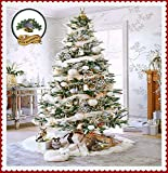 Classic Faux Fur Christmas Tree Skirt - Shaggy Shag Faux Sheepskin Round - White or Off White by Fur Accents - USA (6' Round, White)