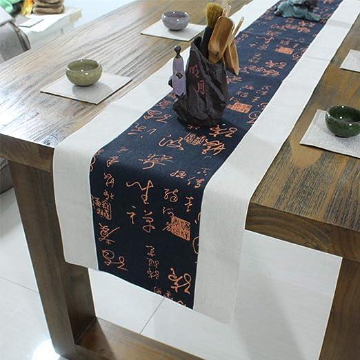 GongDi Camino de Mesa Zen Mantel Chino de algodón Ropa de Mesa té ...