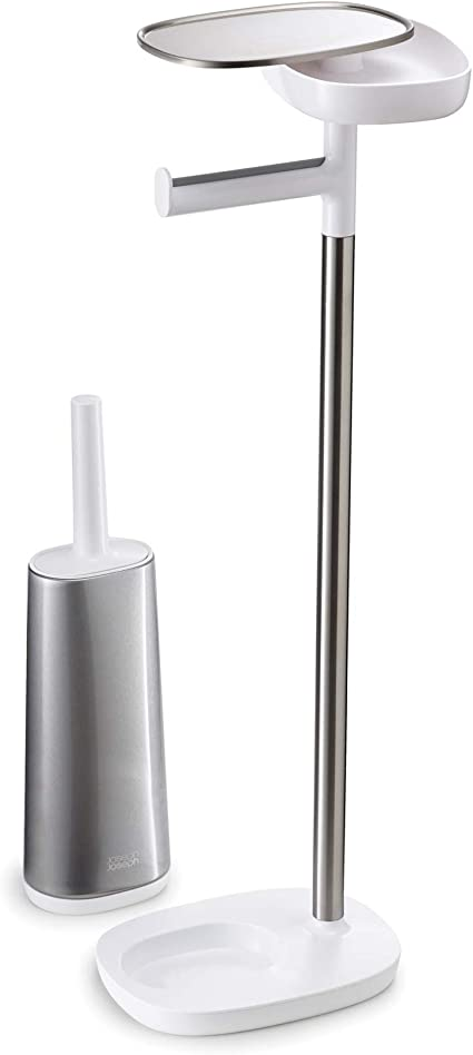 Joseph Joseph 70519 Easystore Butler Toilet Paper Holder Stand And Flex Toilet Brush With Shelf And Drawer Stainless Steel