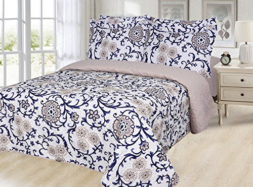 Dream Bedding Pinsonic Rich Printed Reversible 6 Pieces Quilt and Sheet Set, Queen Size, Taupe Flower and Navy Leaves with White Base Pattern