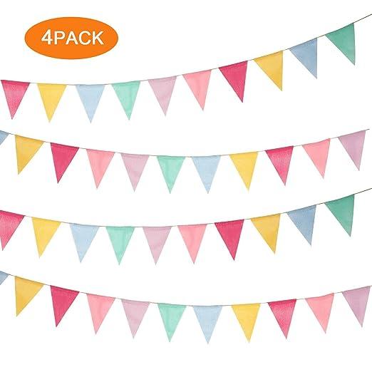 EasyULT 48pcs Banderín Multicolor,Banner Bunting Flags,Arpillera de Imitación Pancarta Triángulo Decoración Colgante de Boda Bautizo Fiesta Cumpleaños ...