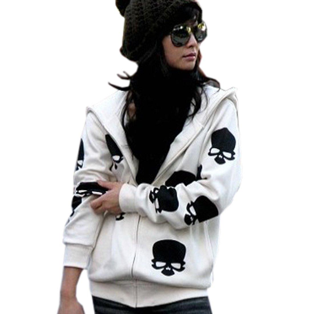 Cozy Age Women's Skull PrintLong Sleeve Hoodie, Small, Black