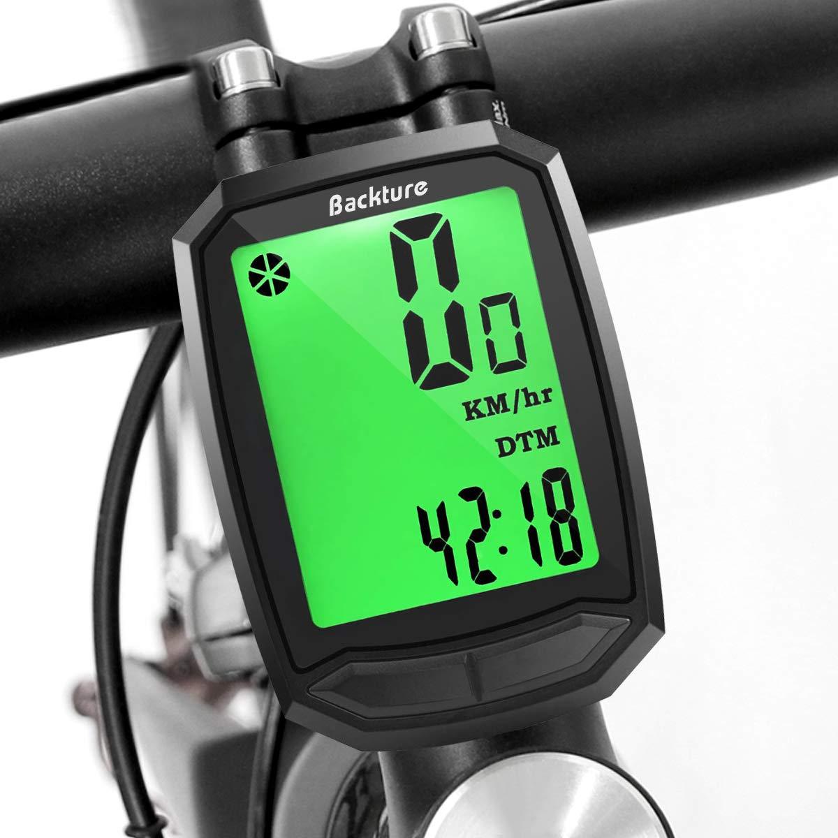 BACKTURE Compteur de vélo, Ordinateur de Vélo sans Fil Étanche,Compteur de Vitesse avec Rétroéclairage LCD d'affichage de l'écran pour vélo Realtime Speed Track et Distance product image
