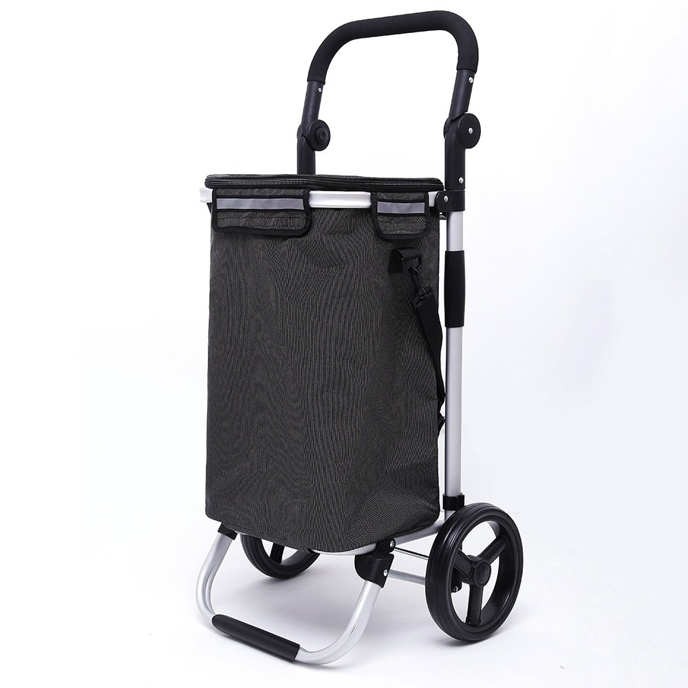J-JIAショッピングキャリー 軽量アルミ合金折り畳み式ショッピングトローリー|ショッピングカート|トラベルカート食料雑貨品カートトロリー2大きな耐摩耗ホイール折りたたみ式プッシュ、プルカットオックスフォード布ショッピングバッグカートンシルバーフレーム大容量40L重量:2.7kg(3色) (色 : ブラック) B07DS947W9 ブラック ブラック