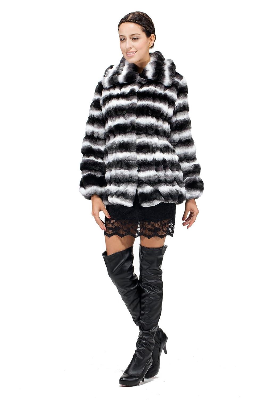 Messca Women's Emily Faux Chinchilla Fur Fold Design Short Fur ...