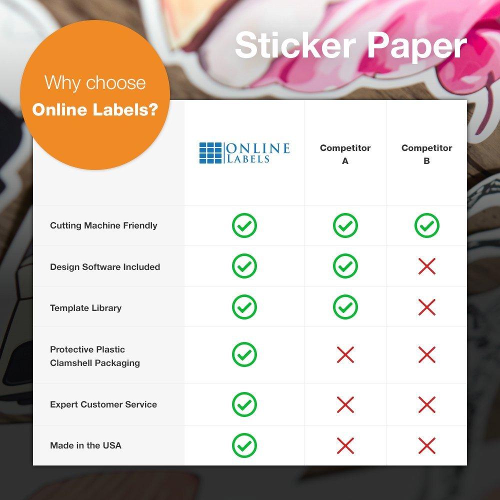 Online Labels - Sticker Paper - 250 Sheets - White - 8.5'' x 11'' Full Sheet Label - Inkjet/Laser Printer