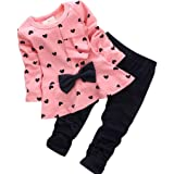 Gotd Baby Girl Heart Bow Tops Pants Leggings Outfits Clothes (3-6Months, Pink)