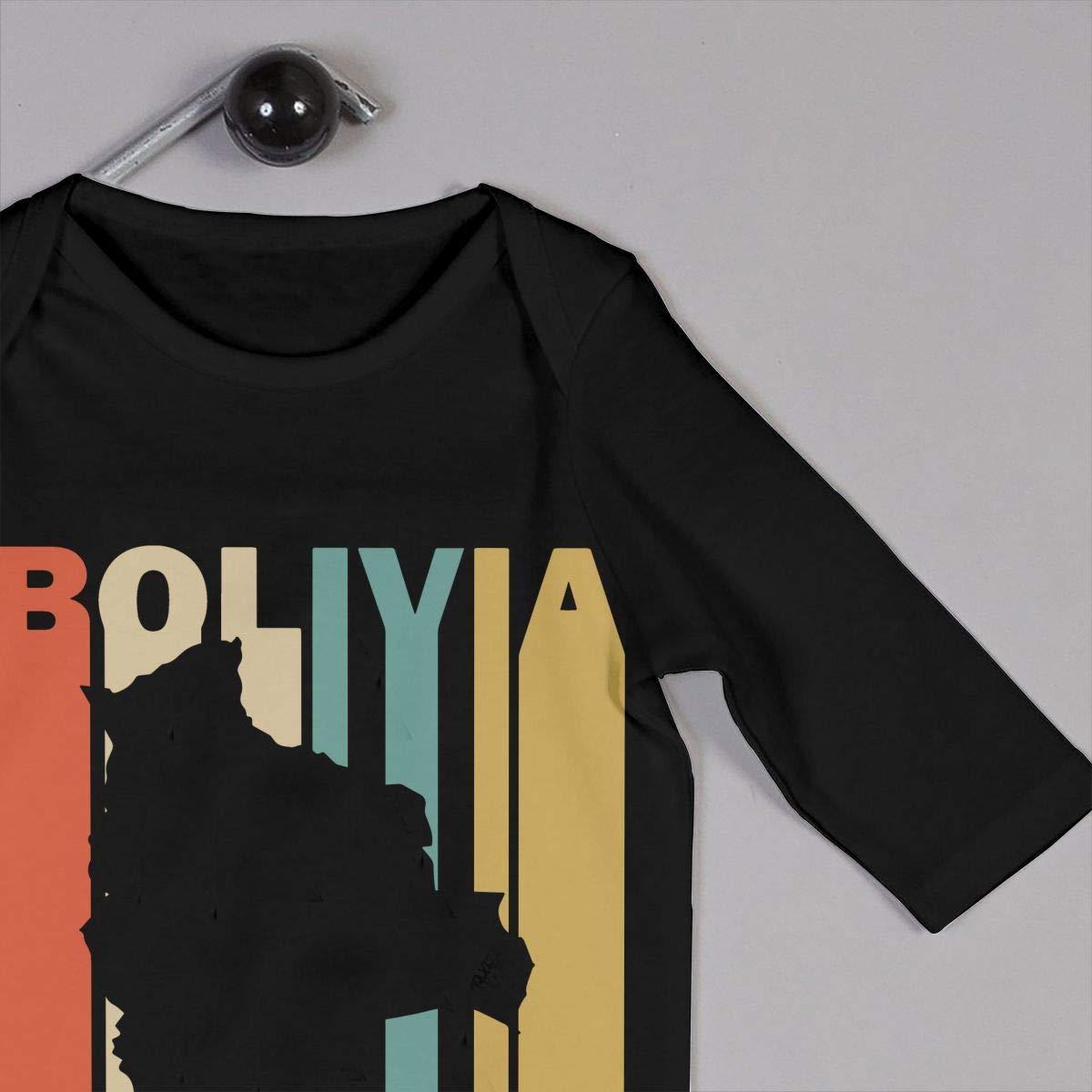 Long Sleeve Cotton Bodysuit for Baby Girls Boys Fashion Retro Style Bolivia Silhouette Crawler Black