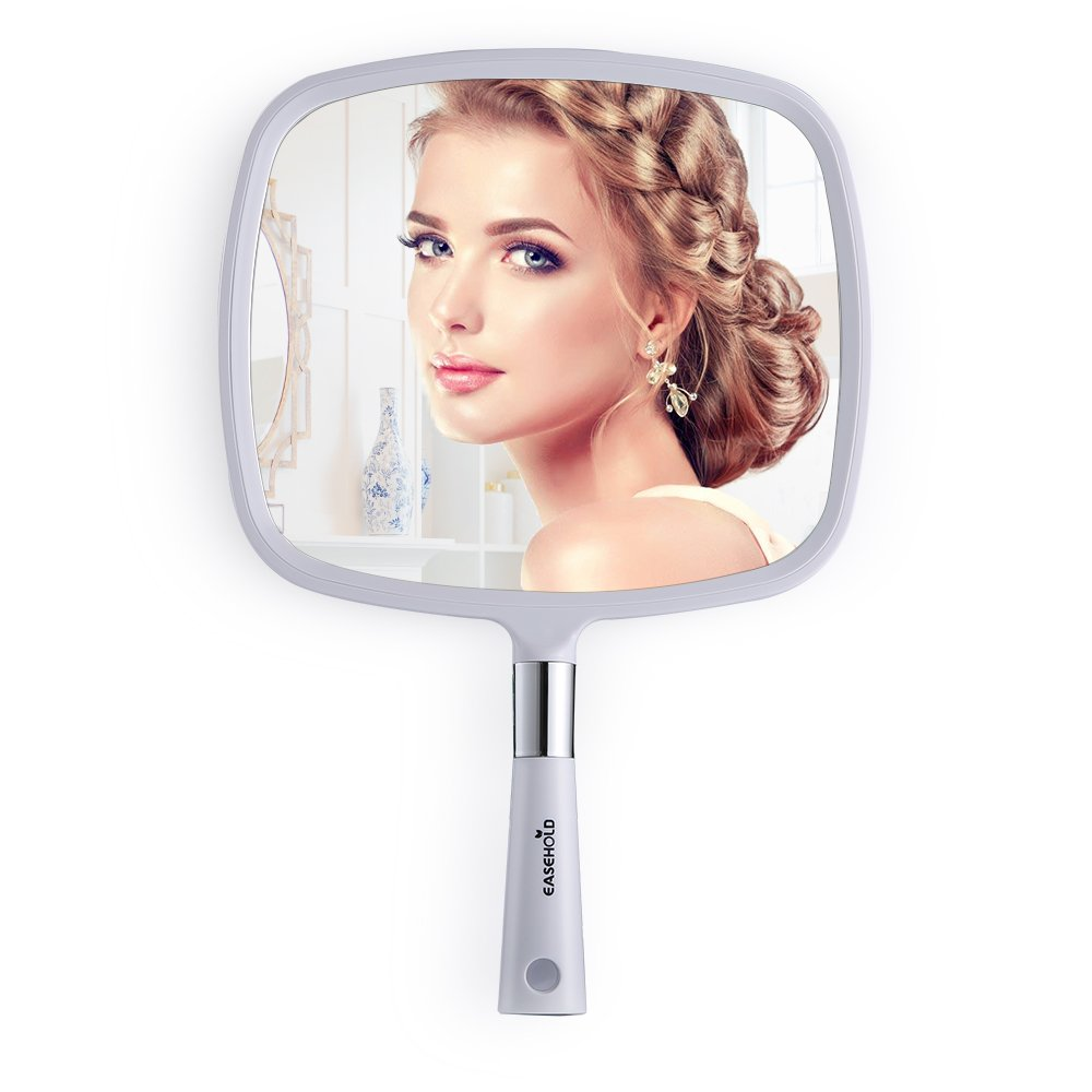 Easehold Handheld Mirror with Handle, Bathroom Mirror Wall Mounted with Hook Hole for Vanity Makeup Home Salon Travel Use (White)