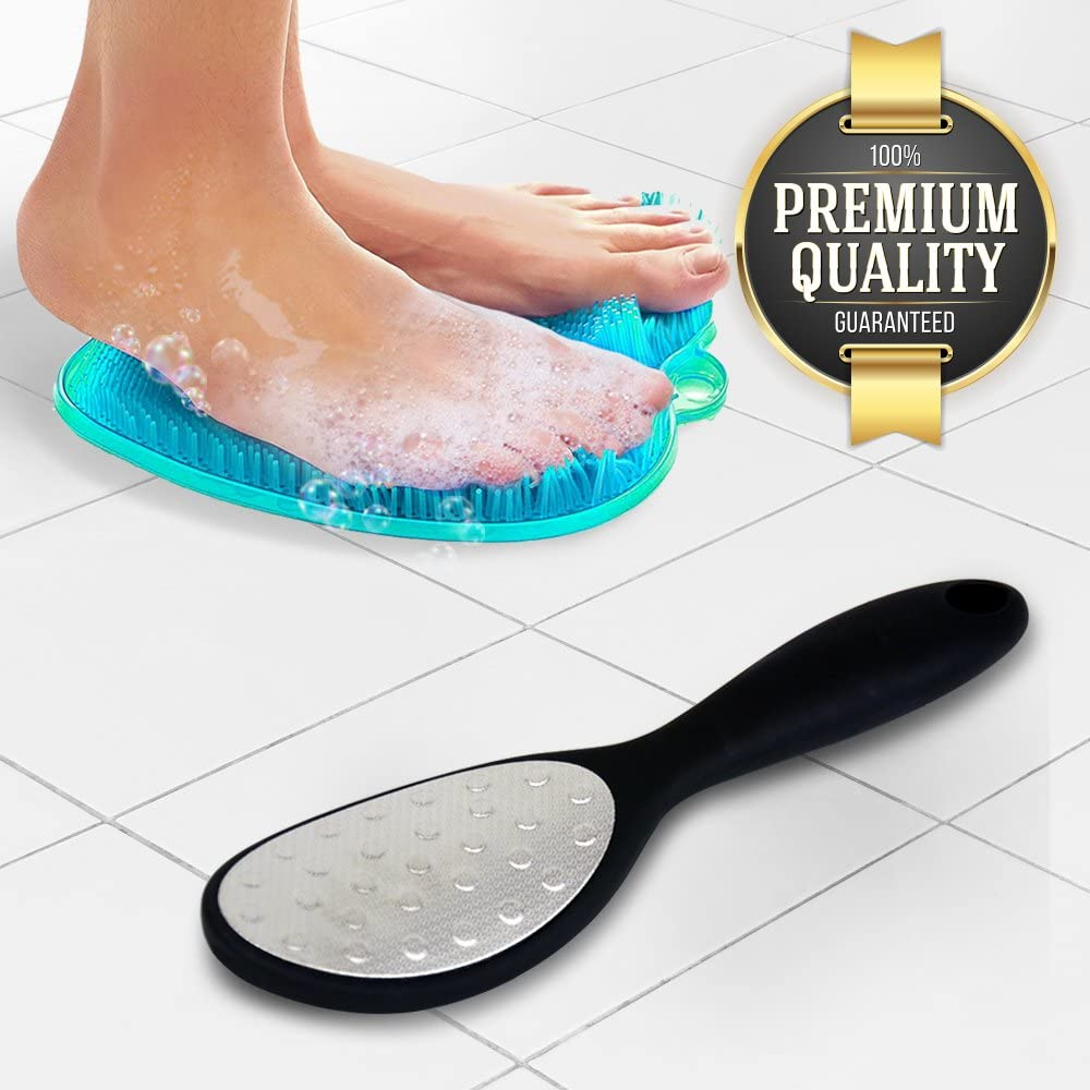 Eutuxia Shower Foot File + Massager, Scrubber, Cleaner Pad Bundle. Exfoliate while Improving Blood Circulation & Reducing Pain, and Effectively Remove Old Callus Skins on Your Feet. 6 Ceramic Refills.