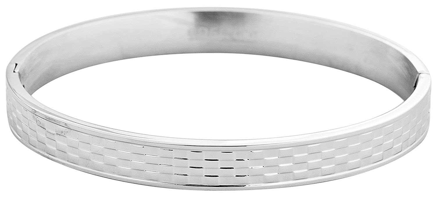 64mm x 53mm Edforce Stainless Steel Unisex Basket Weeve Pattern Oval Bangle Bracelet with Hidden Clasp,