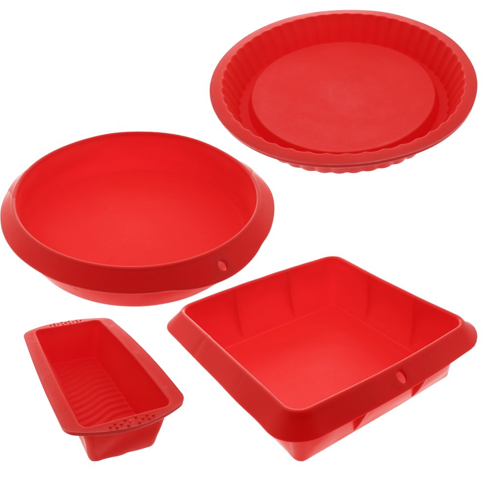 Bakeware Set - Baking Molds - 4 Nonstick Silicone Bakeware Set with Round, Square, and Rectangular Pans for Pies, Cakes, Loaf, and More - Red - Sizes: 11'', 10'', 9'', and 8''.