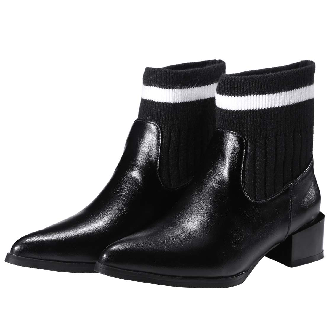 AIYOUMEI Women Knitting Ankle Boots Pointy Toe Low Block Heel Booties Slip On Shoes Autumn