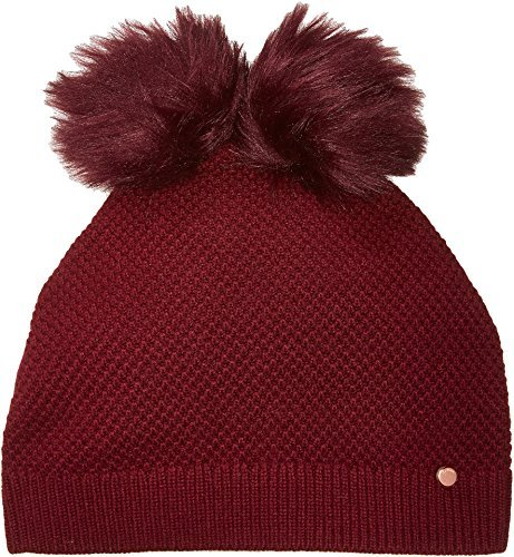 Ted Baker London Junior's Double Pom Beanie, Oxblood, One Size