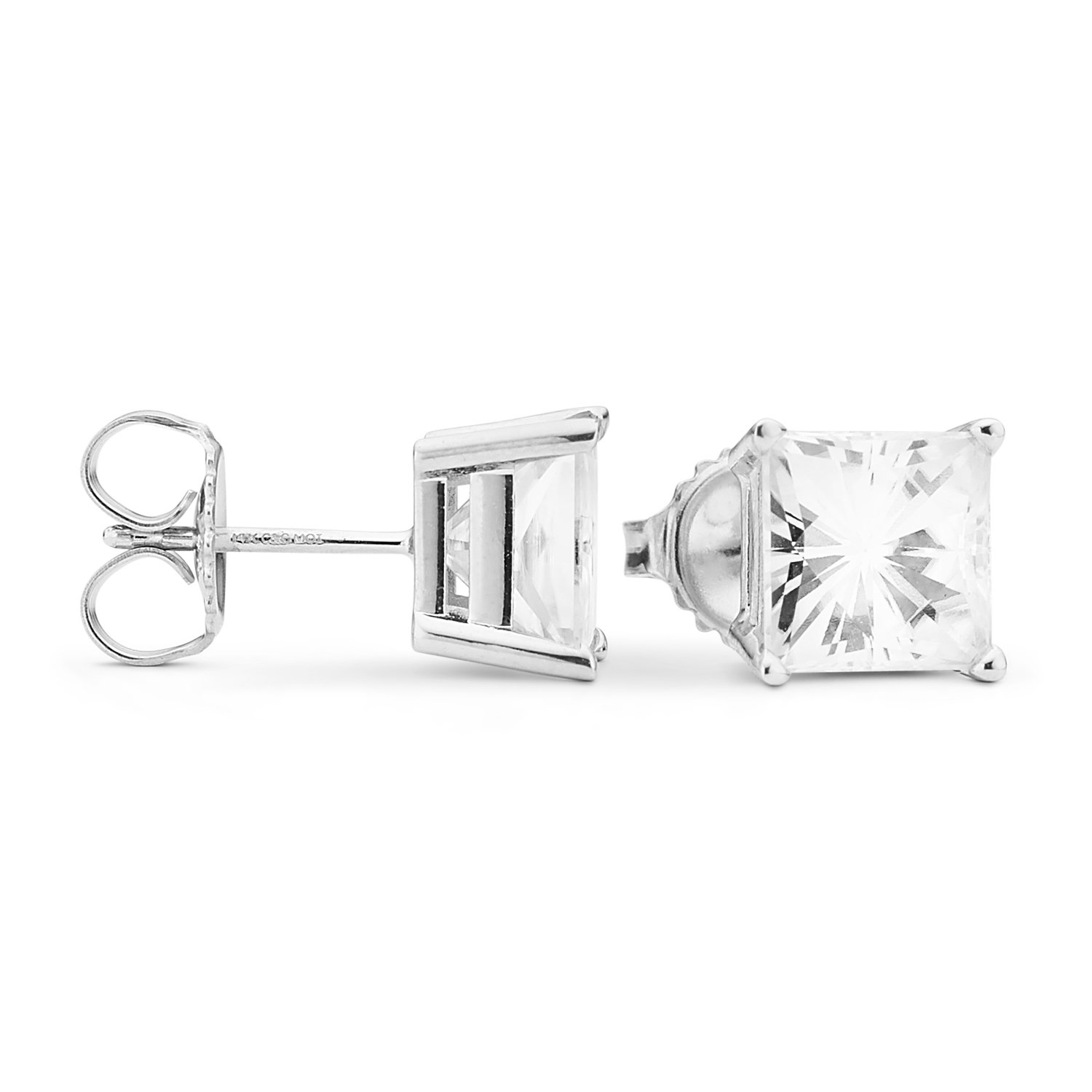 Forever Brilliant 7.0mm Square Moissanite Stud Earrings, 4.20cttw DEW By Charles & Colvard