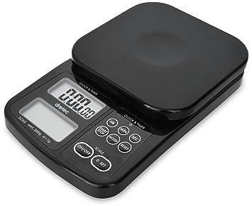dretec - Báscula digital de café con temporizador, báscula de cocina multifunción, 1 g a 2 kg, negro, probado oficialmente en Japón (pilas incluidas): ...
