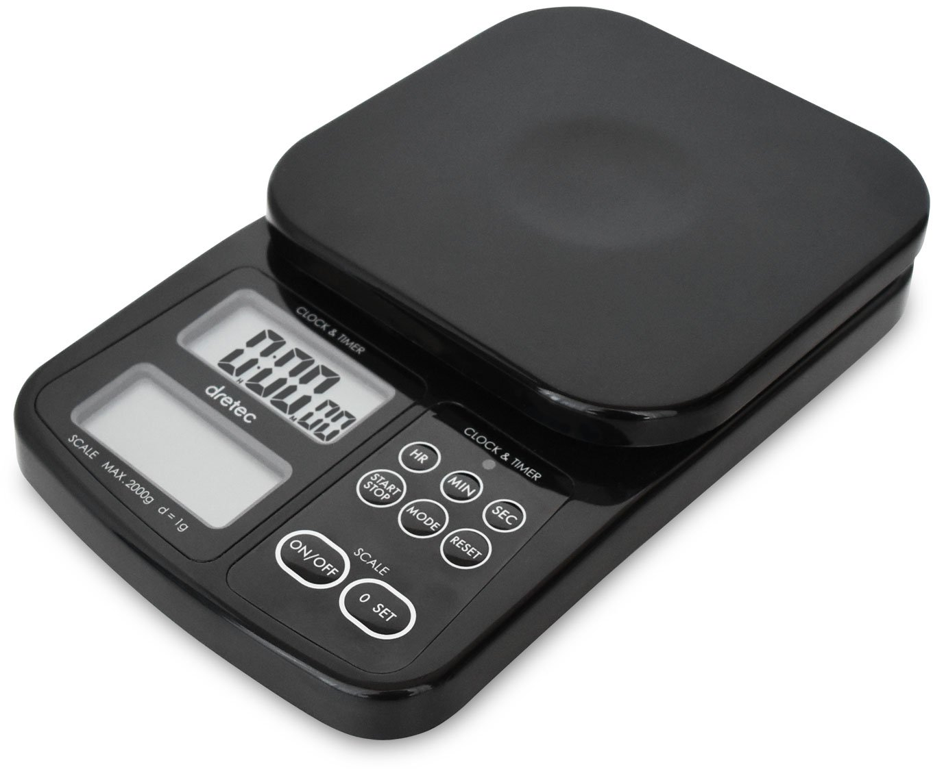 dretec Digital Drip Coffee Scale with Timer, Multifunction Kitchen Food Scale, 1g to 2kg, Black, Officially Tested in Japan (batteries included)