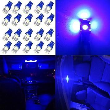 WLJH - 20 bombillas LED azules T10 W5W 168 2825 194 LED cuña bombillas 5050-