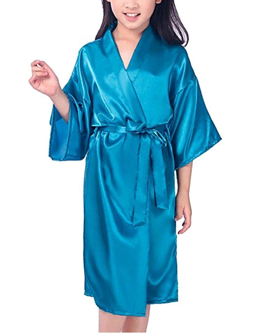 Zaaale Kids Girls Satin Silk Kimono Robe Bathrobe Nightgown Bridesmaid Sleepwear for Spa Party Wedding Birthday (Tag 8(for 100-115cm Kid Girl), Blue)