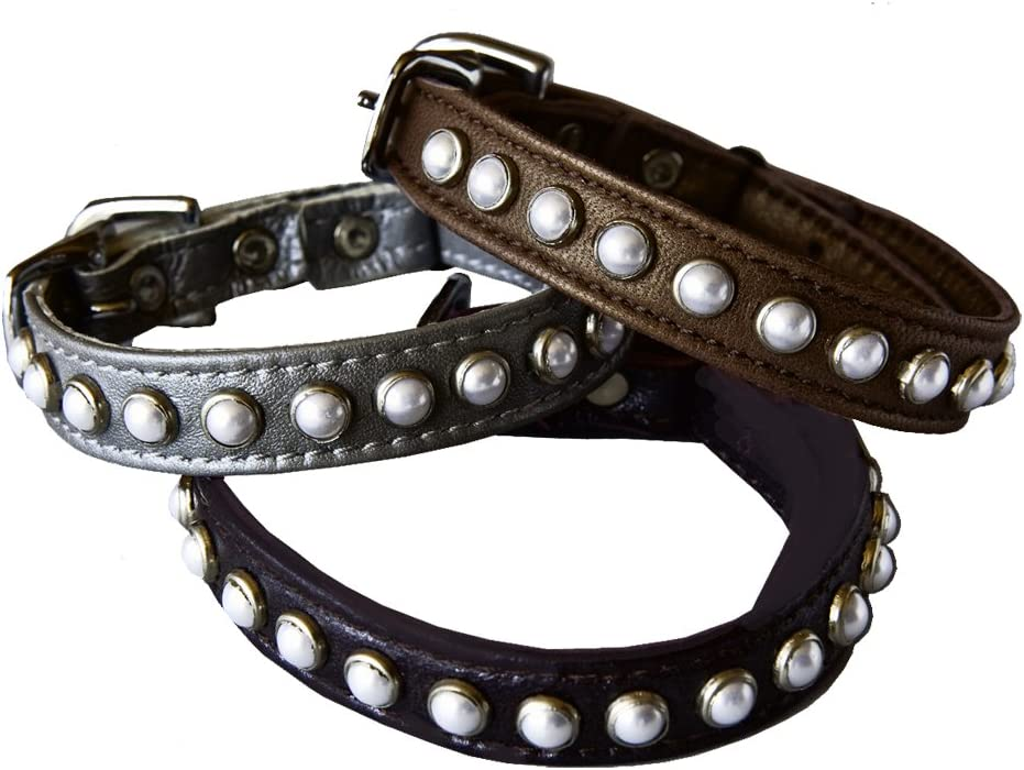 Black Kitty Planet South Sea Pearl Leather Safety Cat Collar Mysterious
