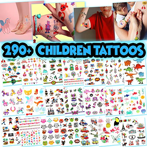 Kids Temporary Tattoos - More Than 290 Easy-to-Use Tattoos for Children (Assorted - 21 Sheets) by BETTERLINE